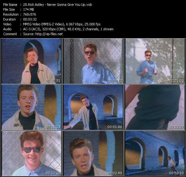 Download Rick Astley Never Gonna Give You Up Hq Vob Mpeg 2 Video