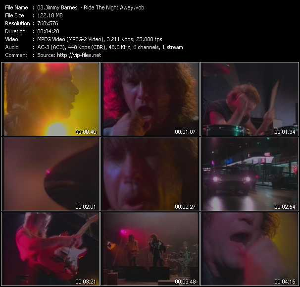 Screenshot of Music Video Jimmy Barnes - Ride The Night Away