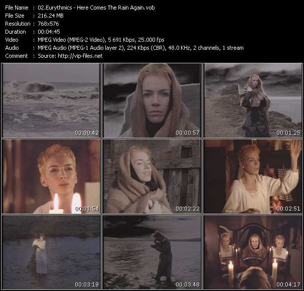 Screenshot of Music Video Eurythmics - Here Comes The Rain Again