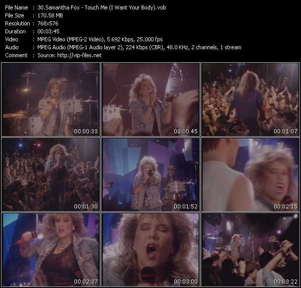 Screenshot of Music Video Samantha Fox - Touch Me (I Want Your Body)
