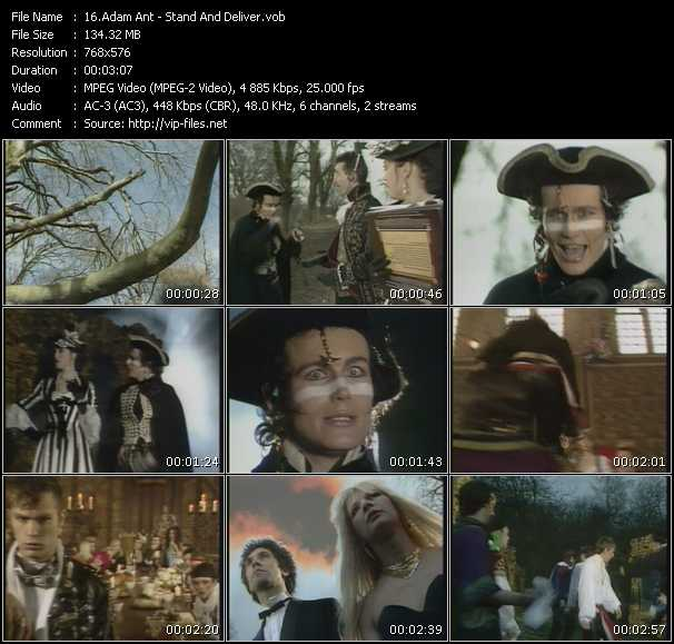 Screenshot of Music Video Adam Ant - Stand And Deliver