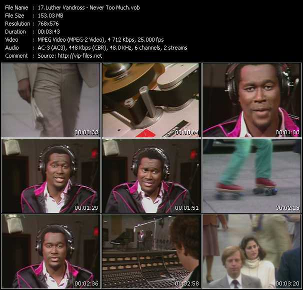 Screenshot of Music Video Luther Vandross - Never Too Much