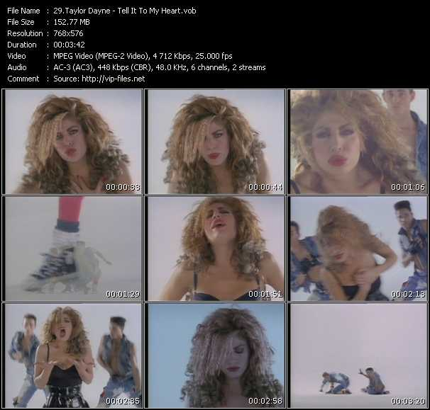 Screenshot of Music Video Taylor Dayne - Tell It To My Heart