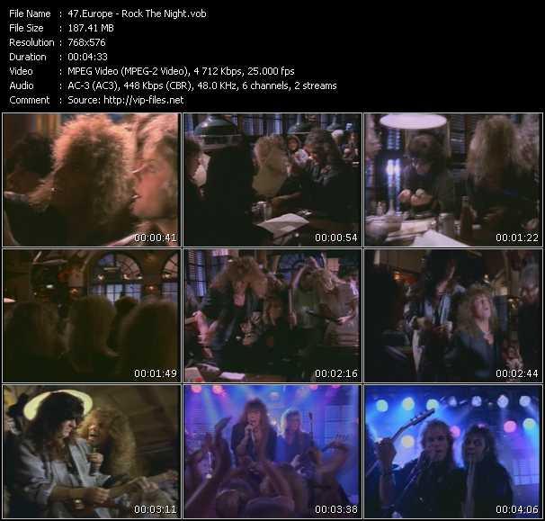 Screenshot of Music Video Europe - Rock The Night
