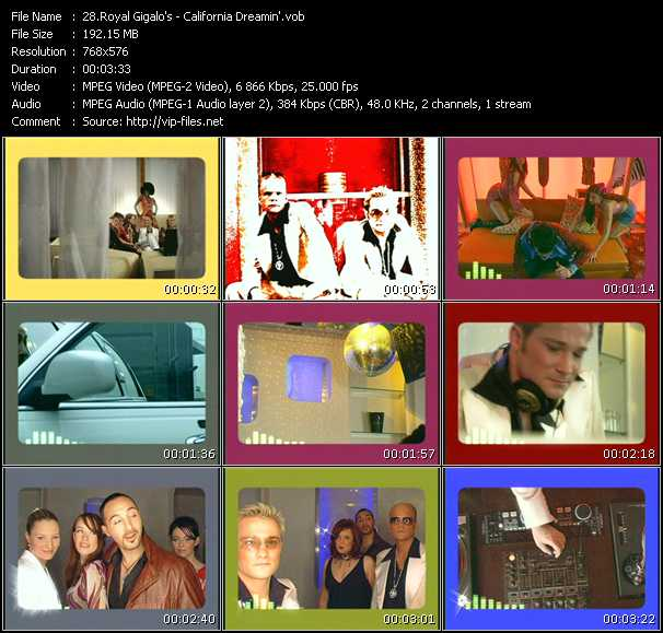 Screenshot of Music Video Royal Gigalo's - California Dreamin'
