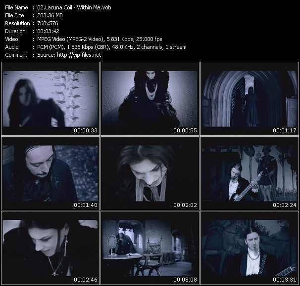 Screenshot of Music Video Lacuna Coil - Within Me