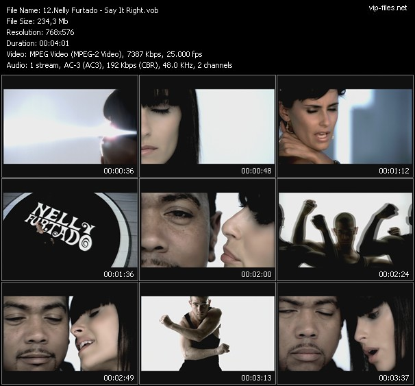 Screenshot of Music Video Nelly Furtado - Say It Right