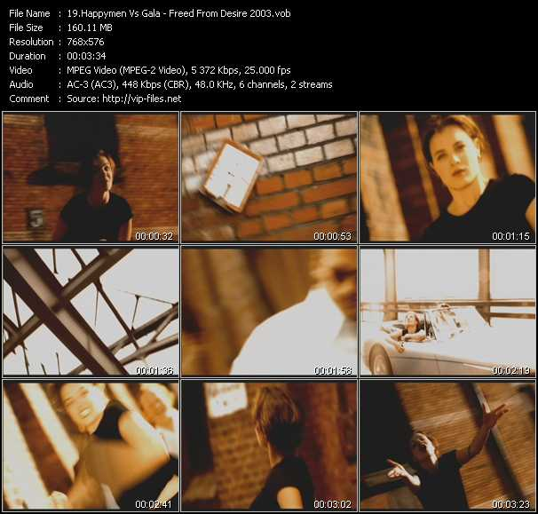 Screenshot of Music Video Happymen Vs. Gala - Freed From Desire 2003