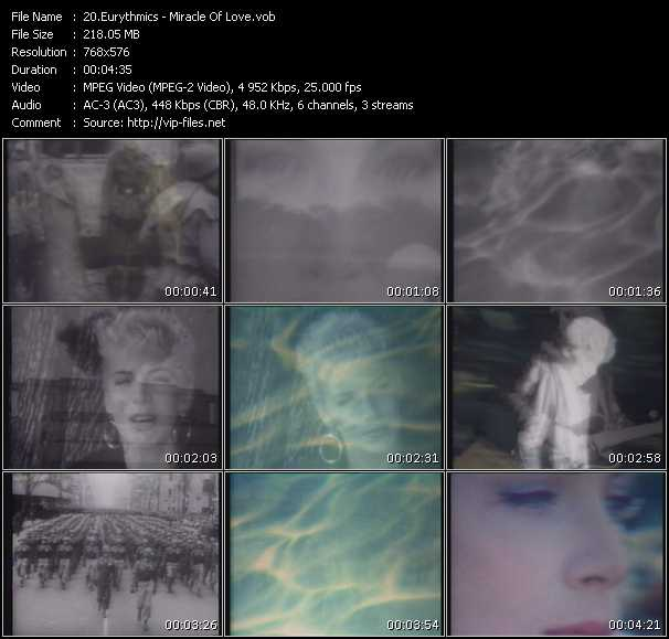 Screenshot of Music Video Eurythmics - Miracle Of Love