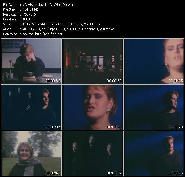 Screenshot of Music Video Alison Moyet - All Cried Out