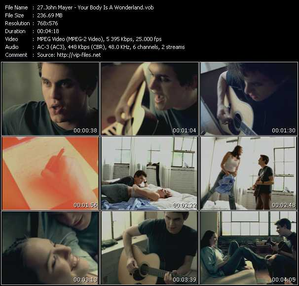 Screenshot of Music Video John Mayer - Your Body Is A Wonderland