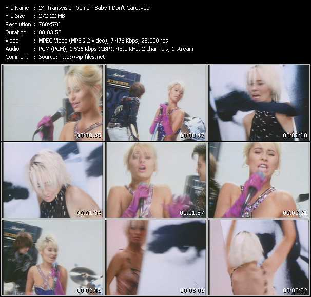 Screenshot of Music Video Transvision Vamp - Baby I Don't Care