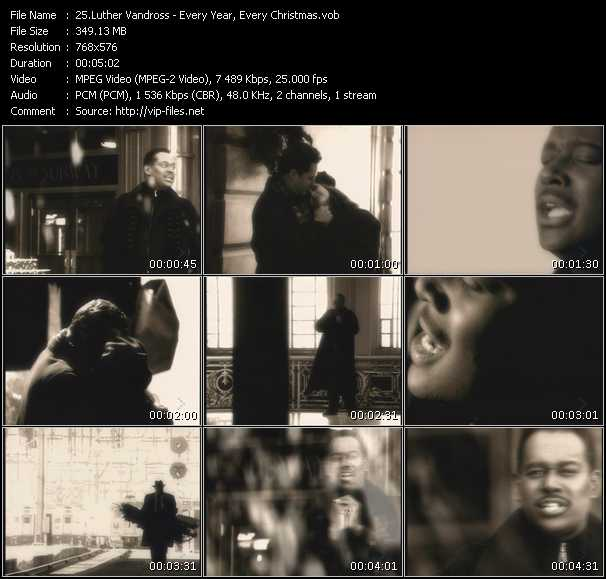 Screenshot of Music Video Luther Vandross - Every Year, Every Christmas