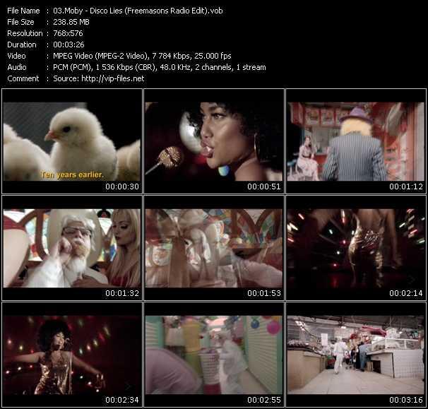 Screenshot of Music Video Moby - Disco Lies (Freemasons Radio Edit)