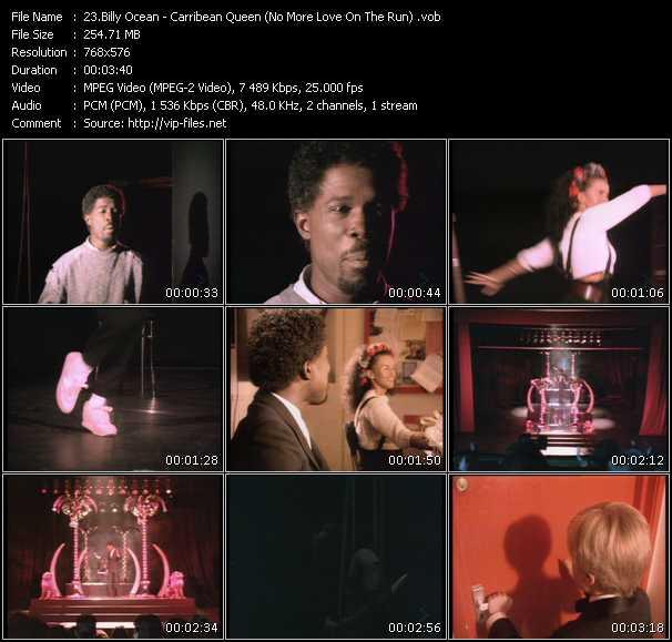 Screenshot of Music Video Billy Ocean - Carribean Queen (No More Love On The Run)