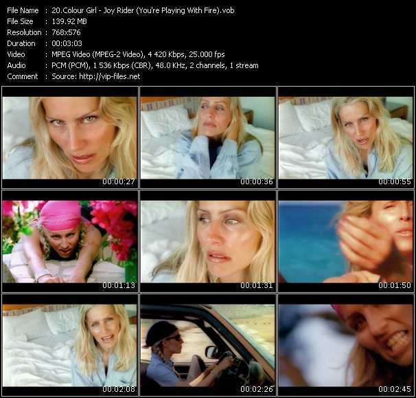 Screenshot of Music Video Colour Girl - Joy Rider (You're Playing With Fire)