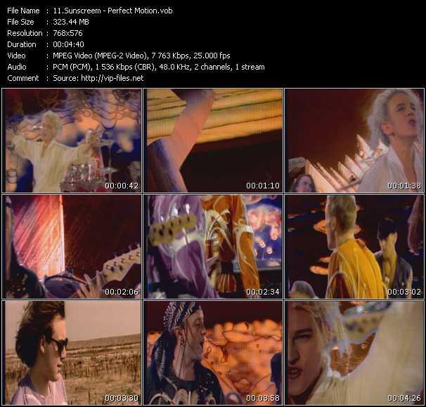 Screenshot of Music Video Sunscreem - Perfect Motion