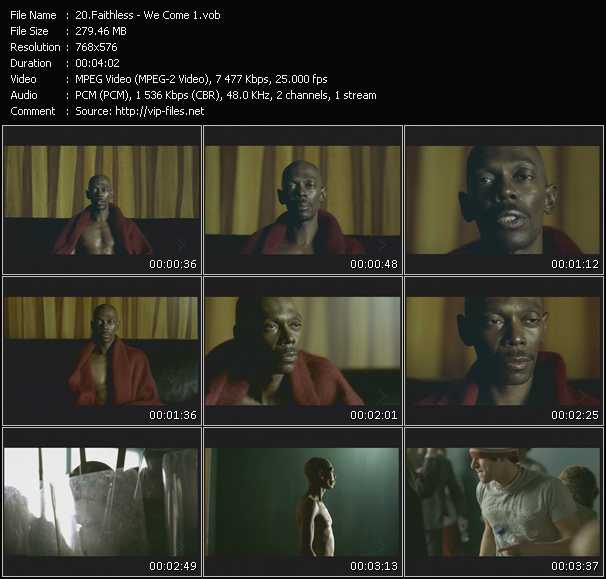 Screenshot of Music Video Faithless - We Come 1