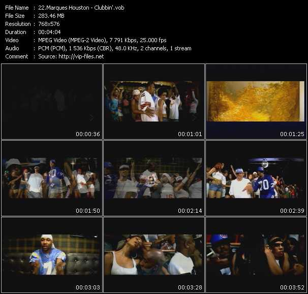 Screenshot of Music Video Marques Houston - Clubbin'