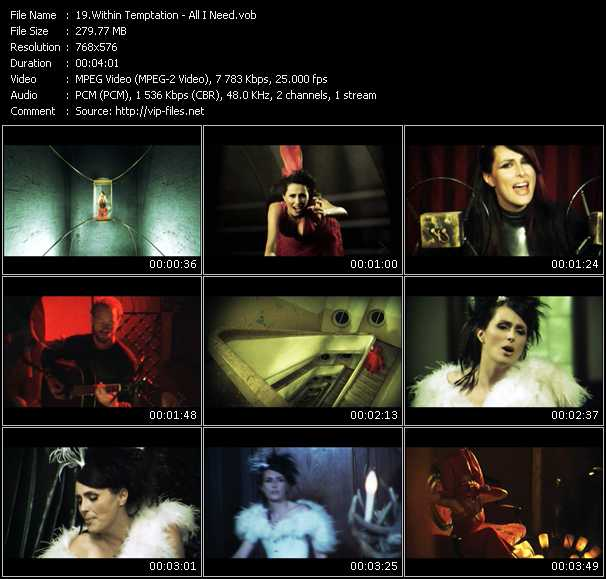 Screenshot of Music Video Within Temptation - All I Need