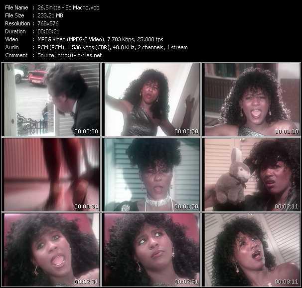 Screenshot of Music Video Sinitta - So Macho