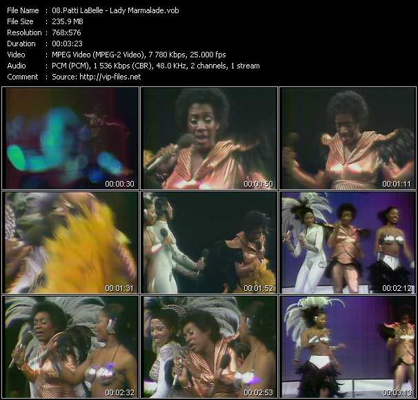 Screenshot of Music Video Patti LaBelle - Lady Marmalade
