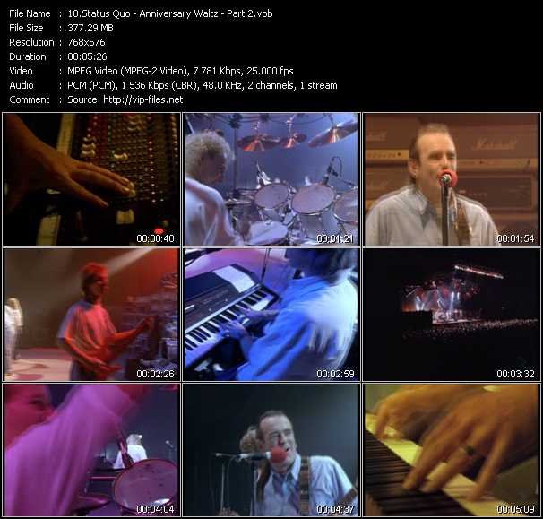 Screenshot of Music Video Status Quo - Anniversary Waltz Part2