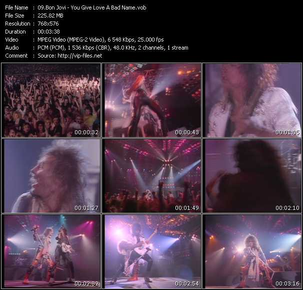 Screenshot of Music Video Bon Jovi - You Give Love A Bad Name
