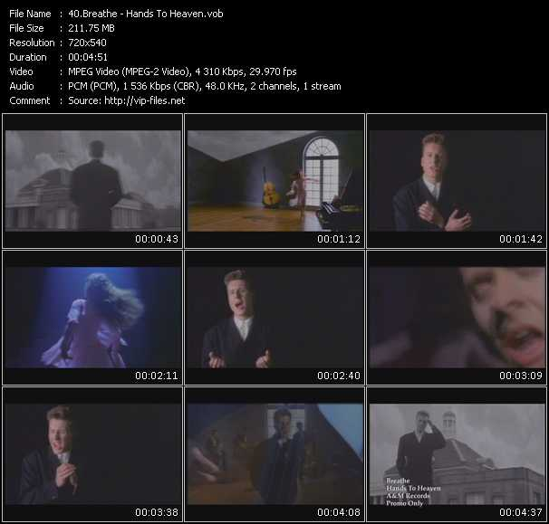 Screenshot of Music Video Breathe - Hands To Heaven