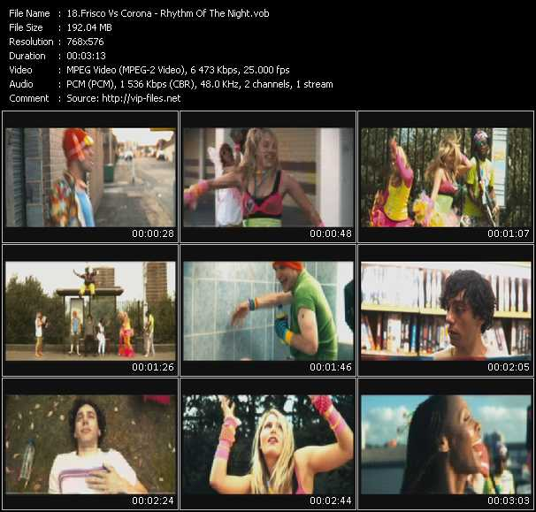 Screenshot of Music Video Frisco Vs. Corona - Rhythm Of The Night