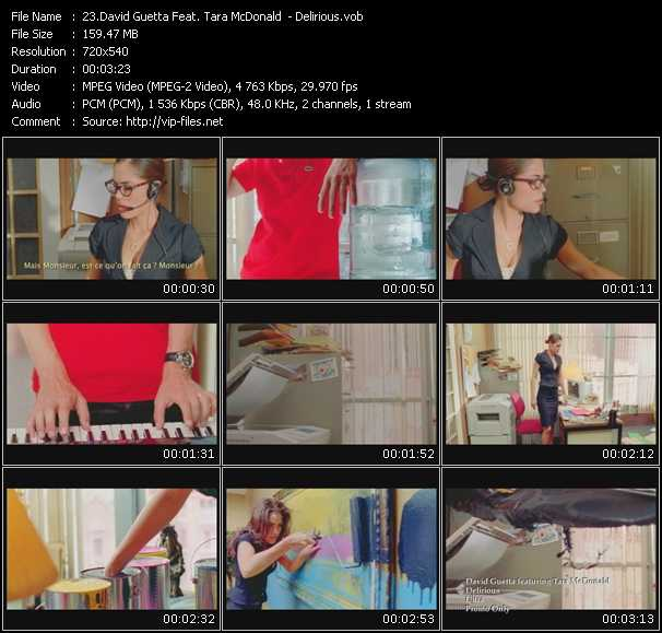 Screenshot of Music Video David Guetta Feat. Tara McDonald - Delirious