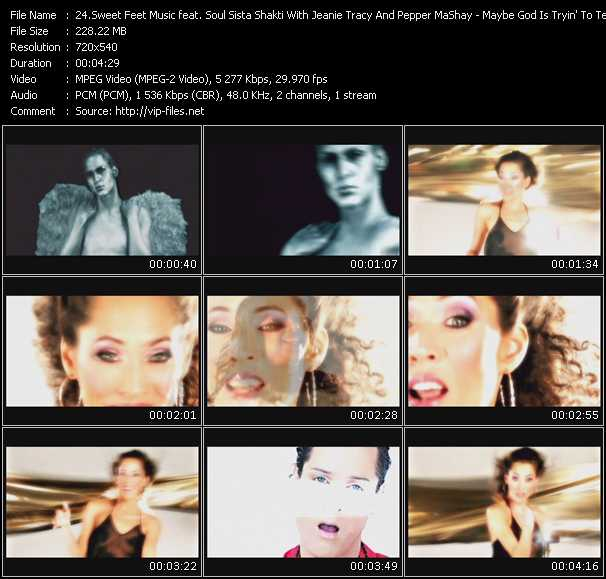 Screenshot of Music Video Sweet Feet Music Feat. Soul Sista Shakti With Jeanie Tracy And Pepper MaShay - Maybe God Is Tryin' To Tell You Somethin' ( (The Rising Edit)