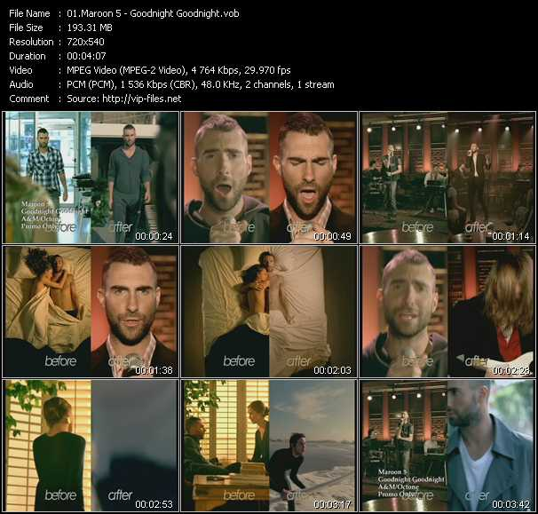 Screenshot of Music Video Maroon 5 - Goodnight Goodnight