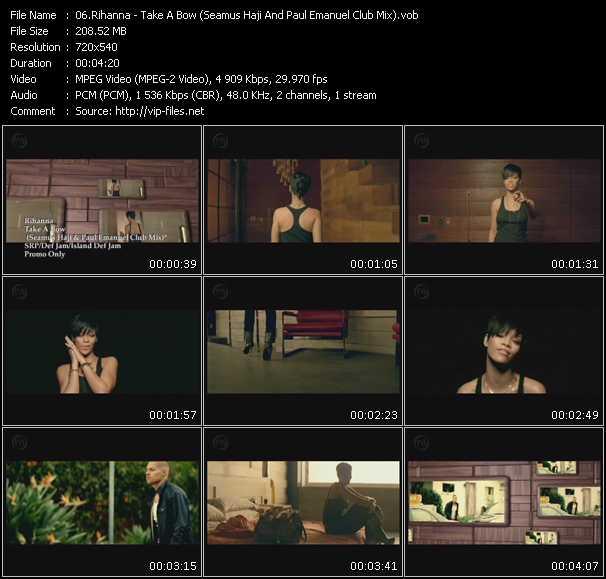 Screenshot of Music Video Rihanna - Take A Bow (Seamus Haji And Paul Emanuel Club Mix)