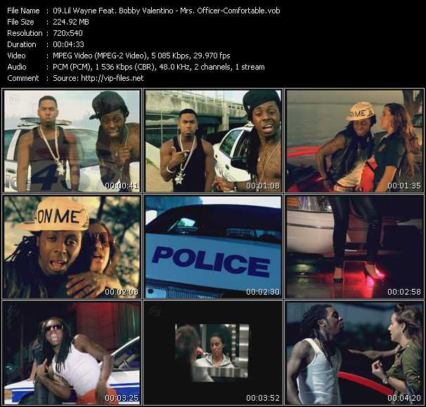 Screenshot of Music Video Lil' Wayne Feat. Bobby Valentino (Bobby V) - Mrs. Officer - Comfortable