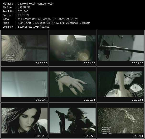 Screenshot of Music Video Tokio Hotel - Monsoon