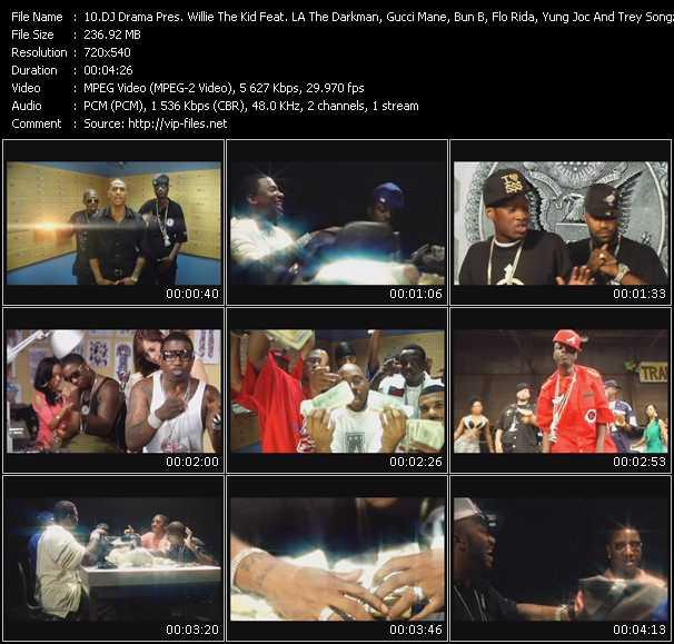 Screenshot of Music Video Dj Drama Presents Willie The Kid Feat. LA The Darkman, Gucci Mane, Bun B, Flo Rida, Yung Joc And Trey Songz - Love For Money