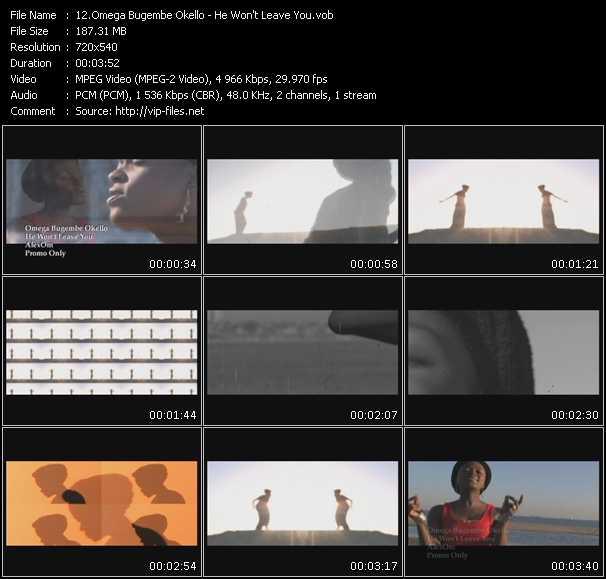 Screenshot of Music Video Omega Bugembe Okello - He Won't Leave You