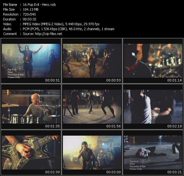 Screenshot of Music Video Pop Evil - Hero