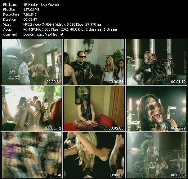 Screenshot of Music Video Hinder - Use Me