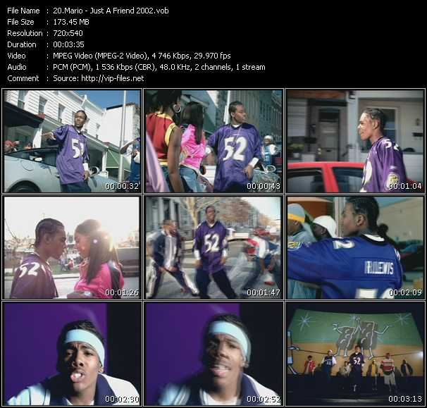 Screenshot of Music Video Mario - Just A Friend 2002