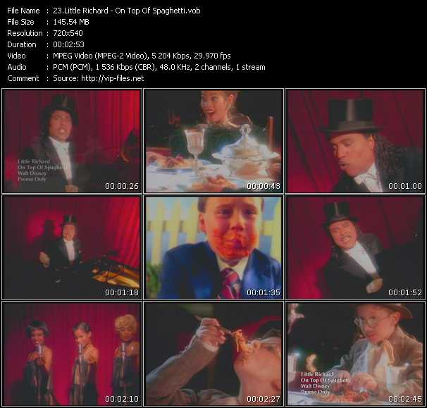 Screenshot of Music Video Little Richard - On Top Of Spaghetti