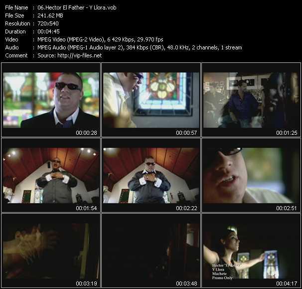 Screenshot of Music Video Hector El Father - Y Llora