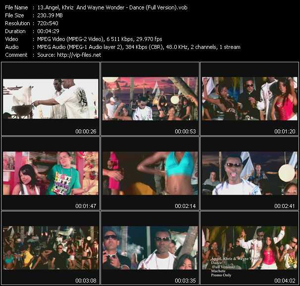 Screenshot of Music Video Angel And Khriz And Wayne Wonder - Dance (Full Version)