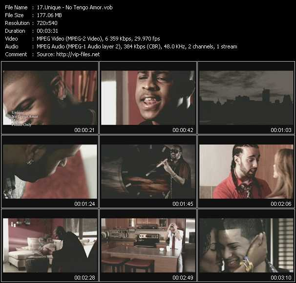 Screenshot of Music Video Unique - No Tengo Amor