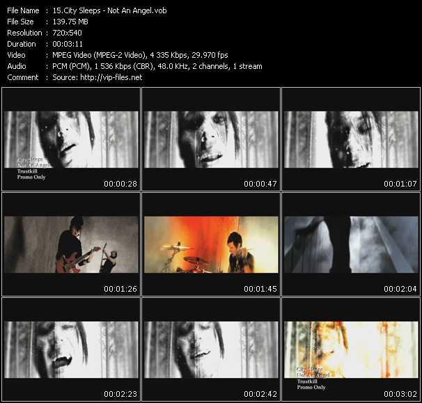 Screenshot of Music Video City Sleeps - Not An Angel