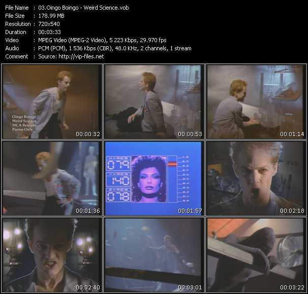 Screenshot of Music Video Oingo Boingo - Weird Science