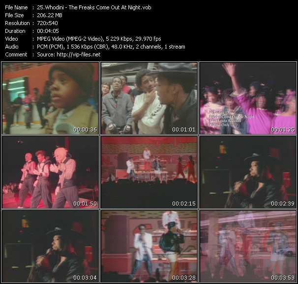 Screenshot of Music Video Whodini - The Freaks Come Out At Night