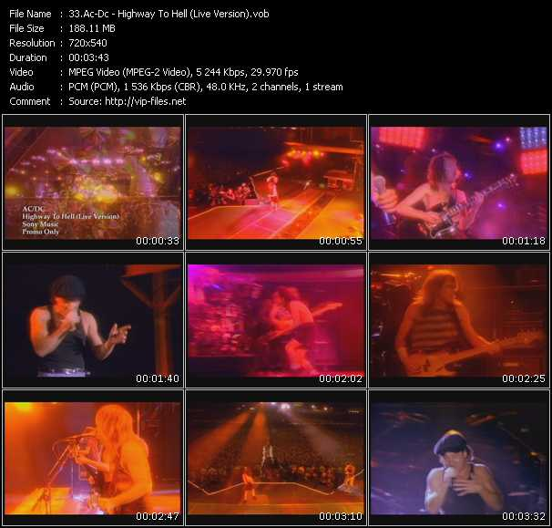 Screenshot of Music Video Ac-Dc - Highway To Hell (Live Version)