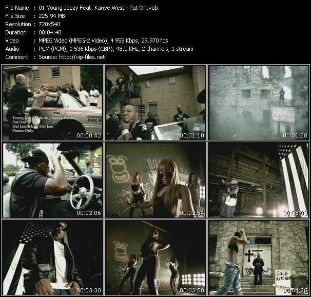 Screenshot of Music Video Young Jeezy Feat. Kanye West - Put On